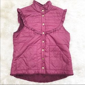Free people quilted purple puffer ruffle vest Sz.S